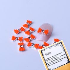 BTArtbox Super Cute Colorful Sparkle Nail Art Alloy Rhinestones Pearl Bowtie Nail Art Tip Decorations 10 pieces Orange ** You can get more details by clicking on the image.