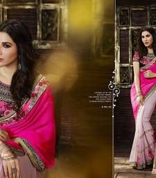 Buy Dark Pink and Light Pink Embroidred Georgette Saree With Blouse georgette-saree online