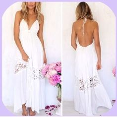 Nwot Long White Maxi Halter Open-Back Dress