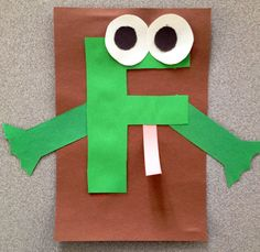 Letter F is for frog Craft- use lower case f and add red tongue. Letter F Craft, Preschool Letter Crafts, Alphabet Crafts, Alphabet Art, Alphabet Activities, Art For Kids, Crafts For Kids, Arts And Crafts, Frog Crafts