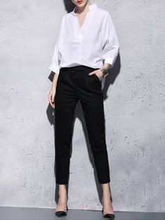 White 3/4 Sleeve Buttoned Straight Leg Pants