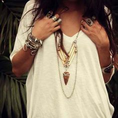 Boho chic layered necklaces, loose Bohemian top, modern hippie bracelets & bangles, gypsy style rings. See MORE http://www.pinterest.com/happygolicky/the-best-boho-chic-fashion-bohemian-jewelry-gypsy-/