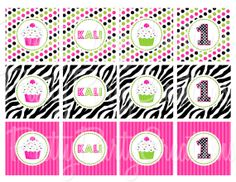 PINK/LIME ZEBRA cupcake toppers  You Print by PrettyPartyCreations, $5.25