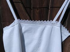 Long Victorian French Plain White Cotton Slip Lace Trim or Summer Dress Medium #sophieladydeparis by SophieLadyDeParis on Etsy