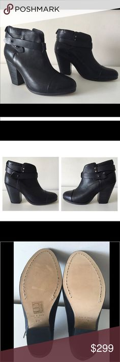 """RAG & BONE HARROW BLACK LEATHER ANKLE BOOTIES RAG & BONE Harrow  -Condition: Brand New With Box + Rag & Bone Card. -Size: EU Size 37.5 -Model: Harrow. -Color: Black. -Shiny calfskin upper. -Ankle-high shaft with notched leather ankle straps. -14"""" top circumference. -Seamed cap toe; almond toe. -Leather lining and sole -3.5"""" stacked heel. -""""Harrow"""" is made in Italy. -Retails for $525.00 -Smoke Free Environment. -Same Day Shipping. rag & bone Shoes Ankle Boots & Booties"""