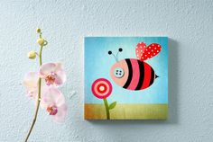 Nursery Wall Art, Children's Decor, Bamboo Panel, Bumblebee