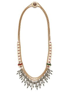 """Mawi """"Heirloom"""" double-strand crystal fringe necklace ($800) - 38.5"""" L, 3.25"""" at widest point, and push-button closure. Gold-tone base metal, antique silver tone base metal, and faux pearl double-strand necklace w/ Swarovski crystal fringe details. Origin: UK."""
