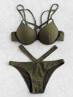 Bikini set with bustier design and - German SheIn (sh . Bikini set with bustier design and – German SheIn (Sheinside) Bikini Modells, Haut Bikini, Bustier Top, Green Bikini, Green Swimsuit, Bikini Ready, Strap Bikini, Sexy Bikini, Crop Top Bikini
