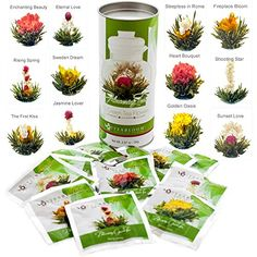 Teabloom Natural Blooming Tea Flowers - Biggest Variety of Flowering Tea in Beautiful Gift Canister - Fresh New Tea Flowers - Cool Kitchen Gifts