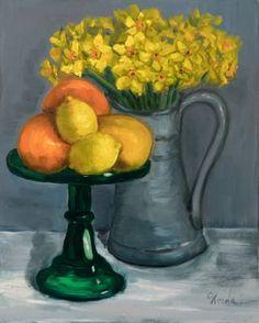 "Saatchi Art Artist Corinne Korda; Painting, ""Bottle Green & Yellow"" #art"