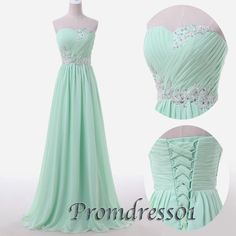 prom dress, prom dress 2015, beaded sweetheart strapless light green long chiffon prom dress for teens https://sweetheartdress.storenvy.com/products/13166352-light-green-chiffon-sweetheart-floor-length-prom-dress-bridal-dress