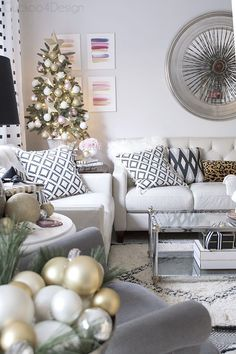 blush, gold, cream, black and white Christmas decor in eclectic and cozy living room Small Christmas Trees, Gold Christmas Tree, All Things Christmas, Christmas Tree Decorations, Christmas Home, Christmas Holidays, Christmas Ideas, Christmas Interiors, Elegant Christmas