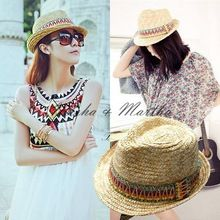 New Fashion Bohemian colorido fita chapéu de palha verão chapéus de sol para mulheres chapéu de praia férias posto hat(China (Mainland))