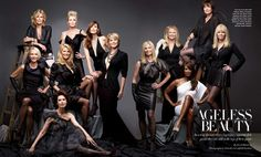 """Ageless Beauty"" – Harper's Bazaar USA April 2012.  legendary supermodels Patti Hansen, Nancy Donahue, Carol Alt, Kim Alexis, Kelly Emberg, Lisa Taylor, Esme Marshall, Cheryl Tiegs, Karen Bjornson, Christie Brinkley, Beverley Johnson, and Dayle Haddon."