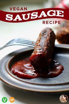 Vegan italian sausage recipe: make your own firm, meaty, smokey, gluten fre Vegan Sausage Recipe Gluten Free, Vegan Italian Sausage Recipe, Paleo, Vegan Gluten Free, Italian Recipes, Vegan Foods, Vegan Dishes, Sin Gluten, Chorizo