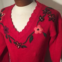Vintage 90s Red Tunic Knit Pullover with Flowers UGLY CHRISTMAS SWEATER Medium M by UglySweaters4U on Etsy