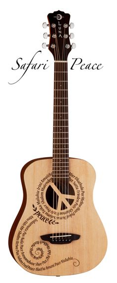Luna's Safari Peace Travel Guitar- The Peace design on this Safari travel guitar is a very special one for us here at Luna as it embodies a philosophy we hold dear.