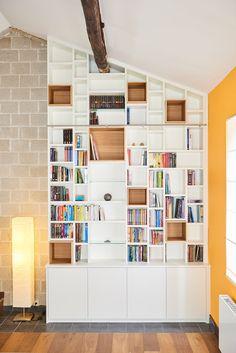 Prachtige witte boekenkast op maat inrichting woonkamer biblioth que - Bibliotheque de salon ...