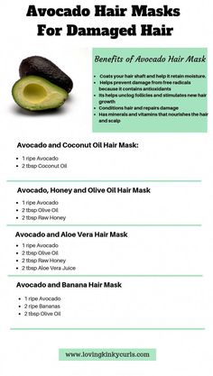 Avocado is rich in Vitamins and fatty acids which makes it ideal for dry and damaged hair. Avocado can be combined with ingredients such as olive oil, honey, coconut oil or banana to make a rejuvenating natural hair mask for growth. Hair Mask For Damaged Hair, Hair Mask For Growth, Natural Hair Mask, Diy Hair Mask, Vitamins For Hair Growth, Hair Vitamins, Hair Growth Oil, Natural Hair Tips, Natural Hair Styles