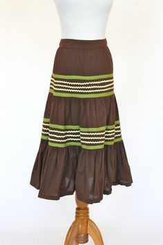 Vintage Mexican Skirt Prairie Skirt Brown by pinebrookvintage, $18.00  NEW!!! Mexican Style Skirt. A cute summer into fall skirt.