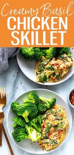 This Creamy Basil Chicken Skillet is a one pan meal ready in 30 minutes! Sear chicken cutlets in a butter, cream, basil and parmesan sauce. #creamybasil #chickenskillet Chicken Skillet Recipes, Skillet Meals, Clean Eating Recipes, Healthy Eating, Comida Keto, One Pot Dinners, Basil Chicken, Chicken Cutlets, Meal Prep Bowls