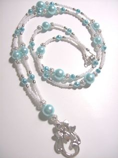 baby Blue Pearl Lanyard   by nelipot46350