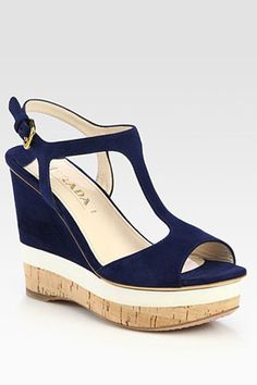 Prada Suede T-Strap Wedge Sandals, $890, available at Saks Fifth Avenue.