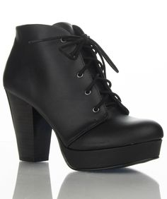 Women Vegan Round Toe Stacked Lace Up Ankle Heel Booties BLACK