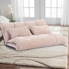 Floor Sofa Adjustable Lazy Sofa Bed, Foldable Mattress Futon Couch Bed with 2 Pollows (Cream) #CuteGiftIdeas #Gift #LazySofa