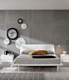 Double #bed with upholstered headboard LONDON by Doimo CityLine