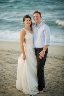 Amy Kuschel's romantic A-line wedding dress Alexandra was perfect for this couple's destination wedding in Cabo. | Photography: Sara Richardson Photography.