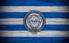 Download wallpapers Riga FC, 4k, soccer, Latvian football club, logo, SynotTip Virsliga, FK Riga, Latvia, football, wooden texture, FC Riga
