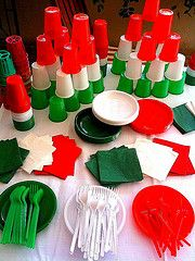 use the cups in the italian colors for flip cup or other cup games : italian dinner decorating ideas - www.pureclipart.com