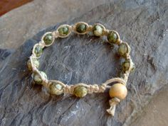 Hemp Jewelry - Natural Rainforest Jasper Stone Beaded Bracelet