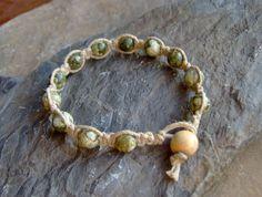 Hemp Jewelry - Natural Rainforest Jasper Stone Beaded Bracelet