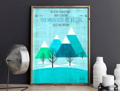 Dr Seuss Mountains Are Waiting Quote Nursery Art, Baby Girl Boy Nursery, Baby Art, Robot Art, Print, Printable Digital Download