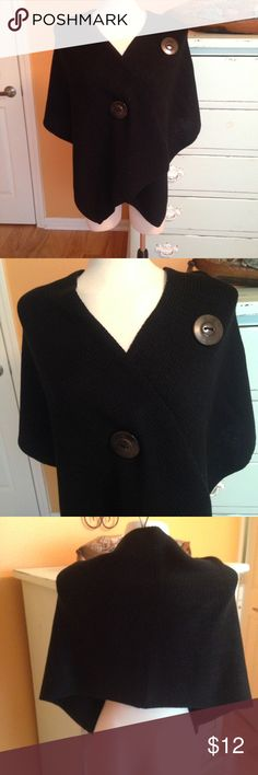 """Ladies Black Wrap NWOT ladies button wrap, 100% Acrylic, 18"""" X 68"""". Comes from a smoke free home. Original price $39.00 very good quality. Accessories Scarves & Wraps"""