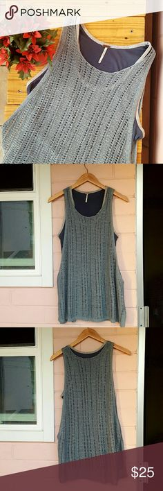 M FREE PEOPLE KNIT LAYERED TANK *navy bottom tank & grayish green knit top tank *size medium *euc other than a couple of slightly stretched holes (see pic 4) *comfortable and light tank good for any occasion  *comes from a Smoke-FREE and Pet-FREE home Free People Tops Tank Tops