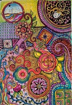 8 x 11.5 doodle using prismacolor colored pencils by lynne howatd 2014
