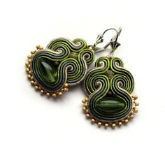 Elegant soutache earrings handmade embroidery gold by SaboDesign, $54.00