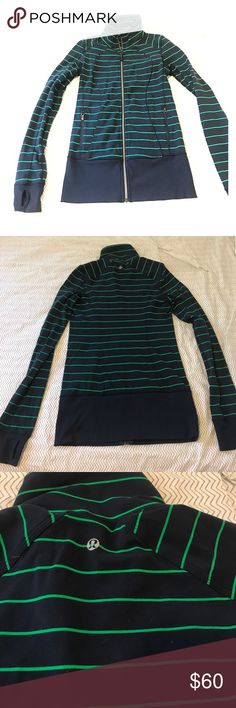 Lululemon Track Jacket Amazing jacket great to wear on a run, or just running around. Only worn a handful of times. Deep Navy with green stripes, signature lululemon thumb holes for comfort. lululemon athletica Jackets & Coats Utility Jackets