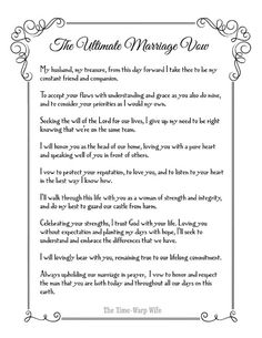 Free Printable - The Ultimate Marriage Vow | Time-Warp Wife