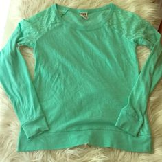 Victoria's Secret Pink Tee Minty green long sleeve Pink tee with lace detail at shoulder. Lightly worn with small amount of piling, not really noticeable. Very soft. PINK Victoria's Secret Tops Tees - Long Sleeve