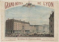 #Publicité pour le Grand Hôtel de Lyon, rue Impériale (aujourd'hui rue de la République, n°14) à côté de la Banque de France (au n°16) qui a déménagé en janv. 2013 dansr de nouveaux locaux situés rue Bayard, à la Confluence. C'est la Banque qui rachète le Grand Hotel en 1919. La lithographie de J. Chéret, de 1867 exagère laperspective pour flatter le lieu : la rue de la République n'est pas aussi large. Une déformation fréquente pour les illustrations publicitaires d'époque #CulturePub… Lyon, Table D Hote, Taj Mahal, Travel, Viajes, Trips, Traveling, Tourism, Vacations