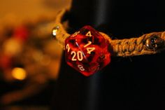 Dungeons and Dragons D20 hemp bracelet on Etsy, $12.00