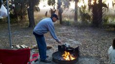 Cooking on a campfire at Fort McAllister