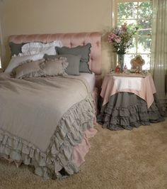 Beautiful Washable Linen Ruffles Bedding Collection