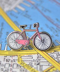 Greenwich Letterpress: Enamel Bicycle Pin in Pink @ Outer Layer Jacket Pins, Cool Pins, Pin And Patches, Up Girl, Pin Badges, Lapel Pins, Pin Collection, Letterpress, Just In Case