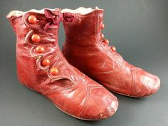 Victorian Antique Red Leather Button Hightop Baby Shoe Boots
