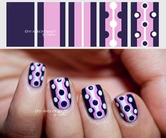 striped polka dot manicure purples and white